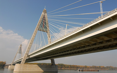 Megyeri Bridge is Hungary's first cable-stayed river bridge